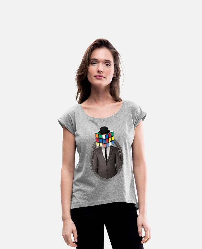 Movie T-Shirts - Rubik's Cube Portrait - Women's Rolled Sleeve T-Shirt heather grey