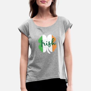 Irish Colors Irish Shamrock in Flag of Ireland Colors - Women's Rolled Sleeve T-Shirt