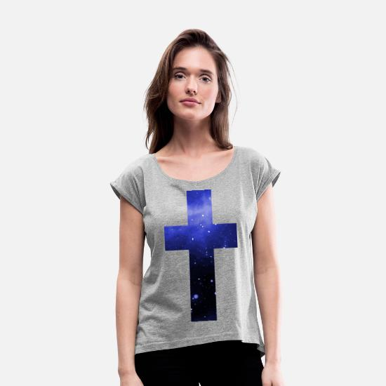 Jesus T-shirts - Cross Galaxy Starry Faith Jesus - T-shirt med upprullade ärmar dam gråmelerad