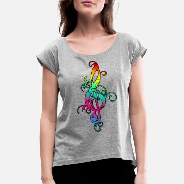 Electro Hippies Clef colorful notes hippie music festival - Women's T-Shirt with rolled up sleeves