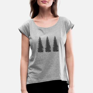 Conifer Tree trees conifer forest camping tents gift - Women's Rolled Sleeve T-Shirt
