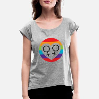 Lesbian heart in a circle - Women's Rolled Sleeve T-Shirt