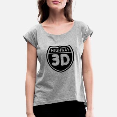 Anaglyph 3d anaglyph highway - Women's Rolled Sleeve T-Shirt