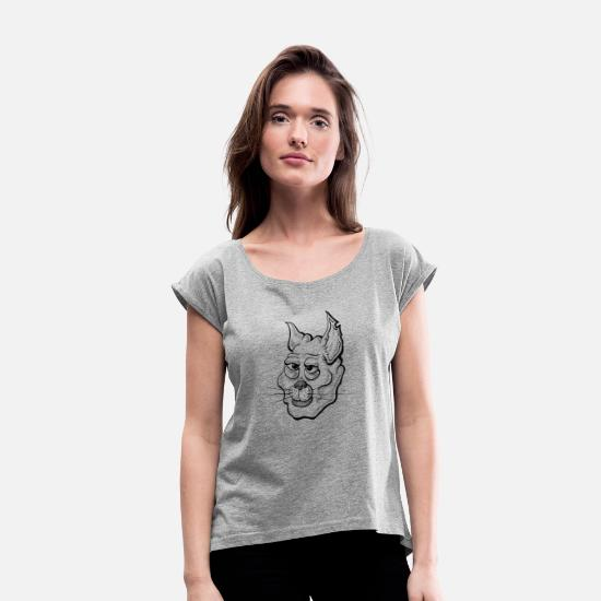Animal Camisetas - Gato negro // art.implied - Camiseta con manga enrollada mujer gris jaspeado