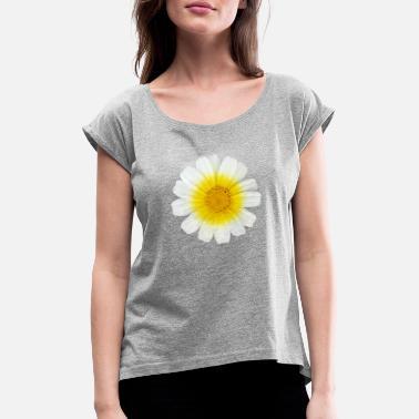 Gallegos Flor gallega blanca 7 - Camiseta con manga enrollada mujer 829ec192e71