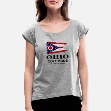 Ohio Ohio Flagge - Ohio Flag - Frauen T-Shirt mit gerollten Ärmeln