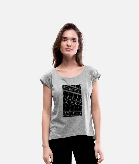 Rock T-Shirts - metal - Women's Rolled Sleeve T-Shirt heather grey