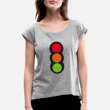 Light 1pound design traffic light - Women's Rolled Sleeve T-Shirt