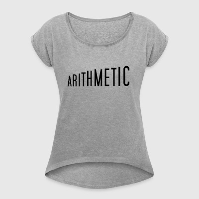 Arithmetic math design t-shirt pullover top - Women's T-shirt with rolled up sleeves