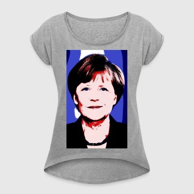 Merkel_bunt - Women's T-shirt with rolled up sleeves