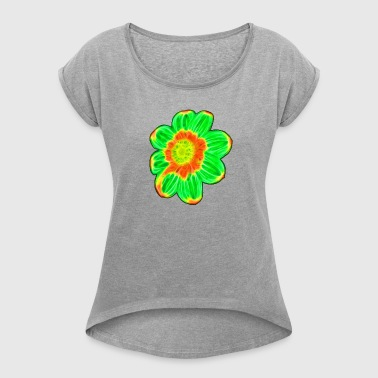 Green flower - Women's T-shirt with rolled up sleeves