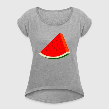 Watermelon melon fruit summer gift - Women's T-shirt with rolled up sleeves