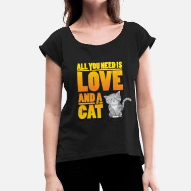 Animals Lover Cat cat lover animal lover animal lover - Women's T-Shirt with rolled up sleeves