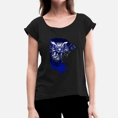 Eagle Owl Forest owl and eagle owl art - Women's T-Shirt with rolled up sleeves