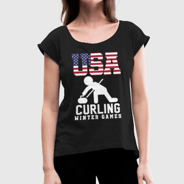 Curl curling - Women's T-Shirt with rolled up sleeves