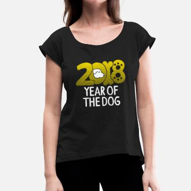 Mops Chinese new year year of the dog 2018 gift - Women's T-Shirt with rolled up sleeves