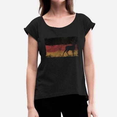 Rehabb Jaeger Germany flag deer Waidmannsheil Rotwi - Women's T-Shirt with rolled up sleeves