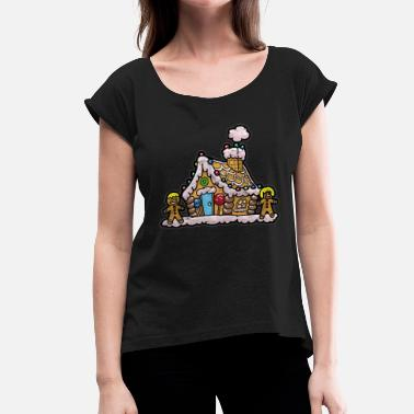Christmas Nicholas Christmas Nicholas gingerbread house - Women's T-Shirt with rolled up sleeves