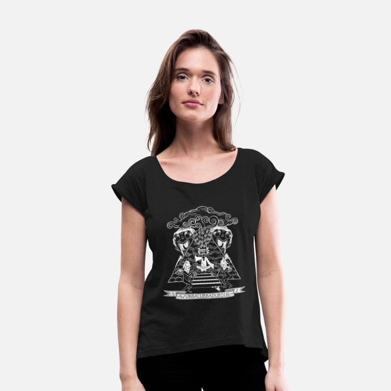 Cool T-Shirts - Rick And Morty Wubba Lubba Dub Dub Pyramid - Women's Rolled Sleeve T-Shirt black