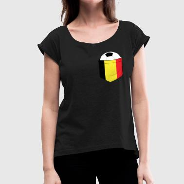 Breasts Football Football Belgium in the breast pocket - Women's T-Shirt with rolled up sleeves