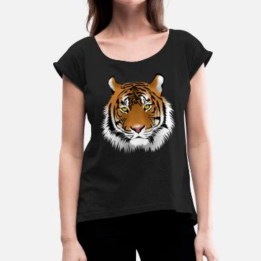 Majestic Cat Tiger head with whiskers majestically - Women's T-Shirt with rolled up sleeves
