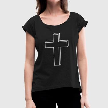 Cross crucifix - Women's T-Shirt with rolled up sleeves