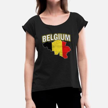 National Colours Belgium Nation Nationality - Women's T-Shirt with rolled up sleeves