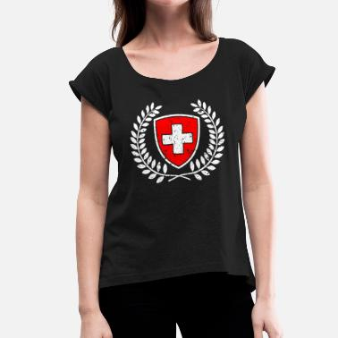 Swiss Cross Swiss coat of arms red-white with cross gift - Women's T-Shirt with rolled up sleeves