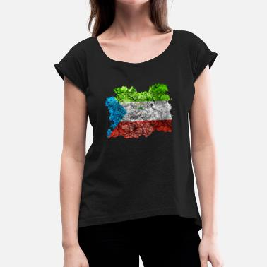Equatorial Guinea Equatorial Guinea vintage flag - Women's T-Shirt with rolled up sleeves