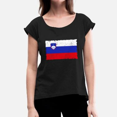 Slovenia Flag Slovenia flag - Women's T-Shirt with rolled up sleeves