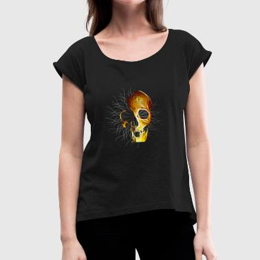 Gold Skull Skull gold with threads - Women's T-Shirt with rolled up sleeves