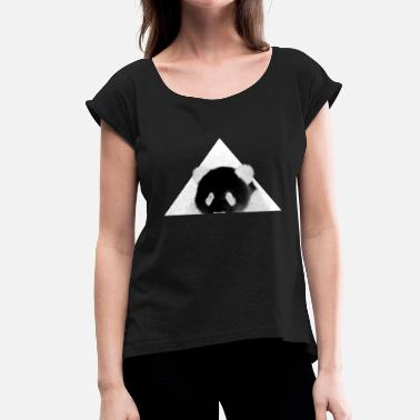 Inverted Triangle Panda in front of triangle - inverted - Women's T-Shirt with rolled up sleeves