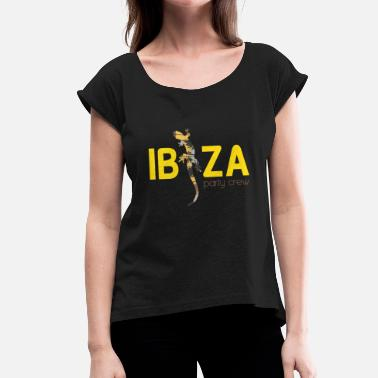 Ibiza Party Crew Ibiza party crew lizzard - Women's T-Shirt with rolled up sleeves