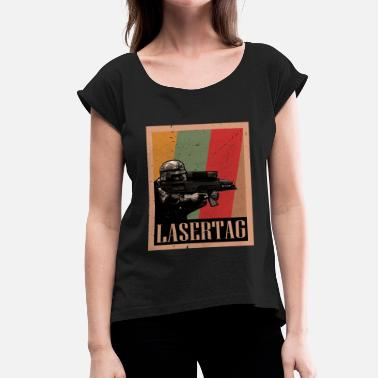 Sharpshooter Lasertag - laser soldier - Women's T-Shirt with rolled up sleeves