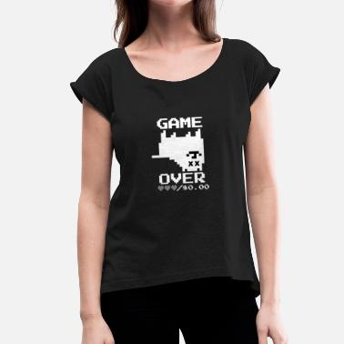 Pixelated Dogs Game Over Pixel Dog - Women's T-Shirt with rolled up sleeves