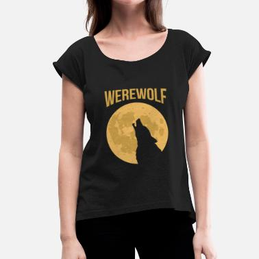 Moaning Halloween - Werewolf moan moon - Women's T-Shirt with rolled up sleeves