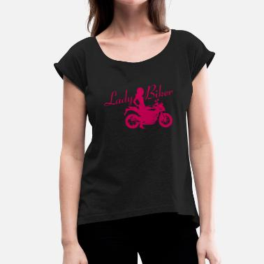 Naked. Lady Lady Biker - Naked bike - Women's T-Shirt with rolled up sleeves