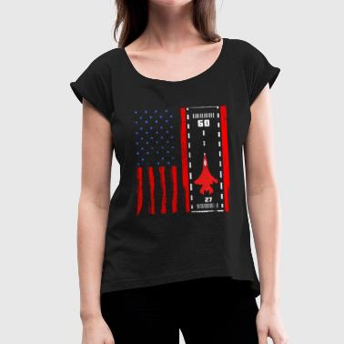 Avion Jet Jet Fighter USA Air Force - T-shirt à manches retroussées Femme