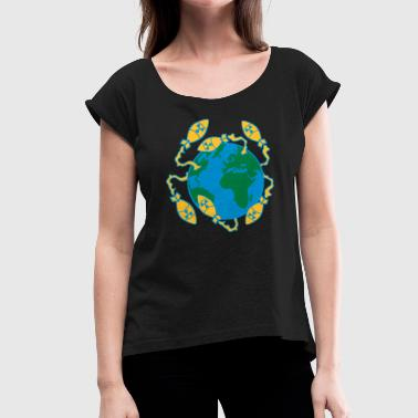 3 world war nuclear war world end war atombomb - Women's T-Shirt with rolled up sleeves