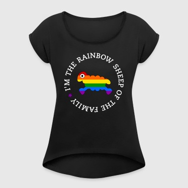 Rainbow Sheep of the Family - White Text - Frauen T-Shirt mit gerollten Ärmeln