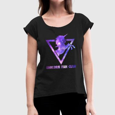 Fan Club Unicorn Fan Club Galaxy - Women's T-Shirt with rolled up sleeves
