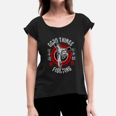 Asian Art Karate Fighter - Asian Martial Art - Women's T-Shirt with rolled up sleeves