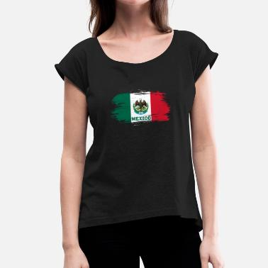 Monterrey Mexico flag / national flag gave - Dame T-shirt med rulleærmer