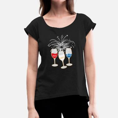 Reds Bbq Wine Red White Blue Glass BBQ BBQ Gift - Women's T-Shirt with rolled up sleeves