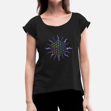 Spiritual Flower Egypt Sun, Flower of Life, Rainbow Style - Women's T-Shirt with rolled up sleeves