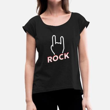 Metal Sign Rock metal horns sign rock music gift - Vrouwen T-shirt met opgerolde mouwen