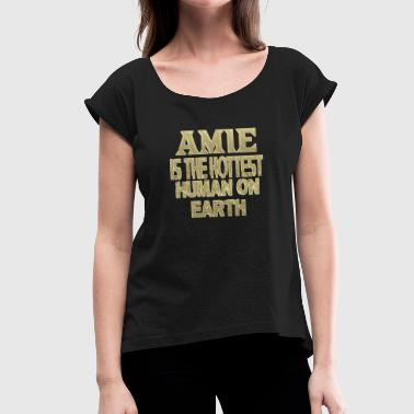 Amie - Women's T-Shirt with rolled up sleeves