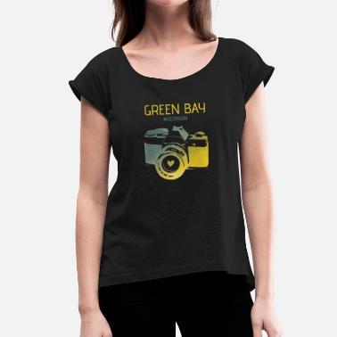 Green Bay Packers Green Bay camera with heart - Women's T-Shirt with rolled up sleeves