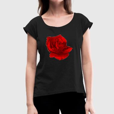 Rote Rose Blume cool Natur Geschenk - Women's T-Shirt with rolled up sleeves