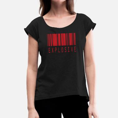 Explosion EXPLOSIVE BARCODE RED - Women's T-Shirt with rolled up sleeves